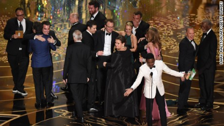 Actor and host Chris Rock  speaks as members of the cast and producers of Spotlight celebrate receiving the award for Best Picture at the 88th Oscars on February 28, 2016 in Hollywood, California. AFP PHOTO / MARK RALSTON / AFP / MARK RALSTON        (Photo credit should read MARK RALSTON/AFP/Getty Images)