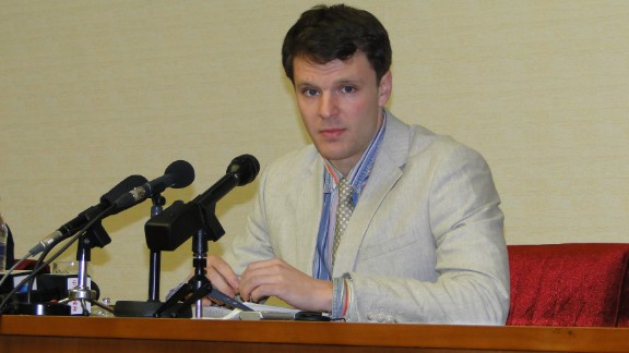 Otto Warmbier speaks during a 2016 news conference in North Korea.