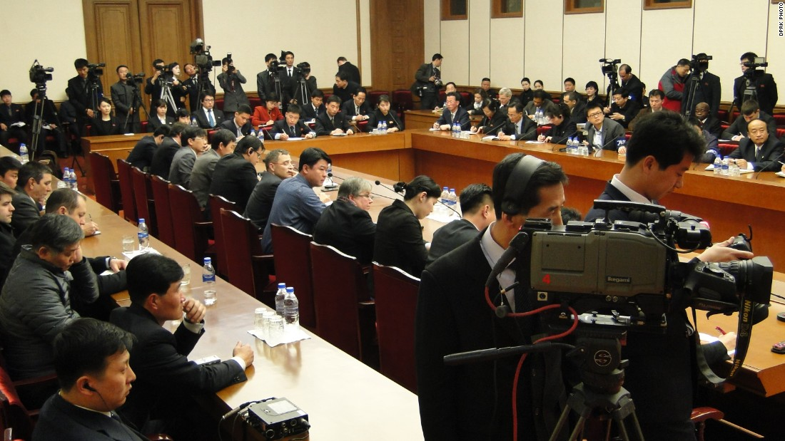 The press conference took place at the People's Palace of Culture in Pyongyang, in a packed out room with international media present.