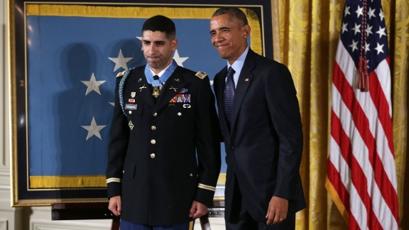 Obama presents a Medal of Honor to retired Army Capt. Florent A. Groberg in November. Groberg was severely injured when he tried to push a suicide bomber away from his patrol in August 2012.