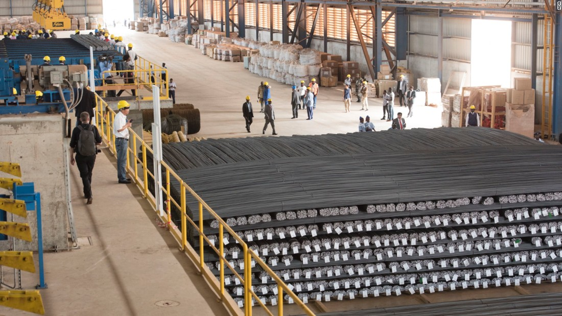 The facility is the largest steel mill in West and Central Africa, aiming to produce 500,000 tons a year, enough for domestic needs and to export.