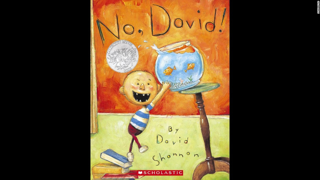 """No, David!"" is the first book in David Shannon's five-volume ""Diaper David"" series. Shannon was awarded a Caldecott Honor for ""No, David,""  which he drafted when he was 5 years old. That draft had the same words on every page (""NO, DAVID!"") and pictures of things he was not supposed to do. Popular since its initial publication in 1998, Shannon's classic shows the love parents have for their children even as they're getting into trouble. <br />"
