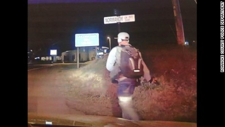 Roanoke County Police released this dashcam photo of Kionte DeShaun Spencer walking on a road February 26.