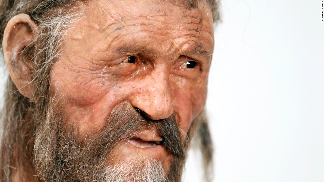 A statue representing Otzi the Tyrolean Iceman, discovered in 1991 in the Italian Schnal Valley glacier, is displayed at the South Tyrol Museum of Archaeology in Bolzano, Italy.