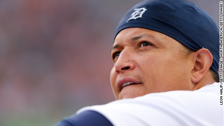 DETROIT, MI - AUGUST 20: Miguel Cabrera #24 of the Detroit Tigers watches the action from the dugout during the second inning of the game against the Texas Rangers on August 20, 2015 at Comerica Park in Detroit, Michigan. (Photo by Leon Halip/Getty Images)