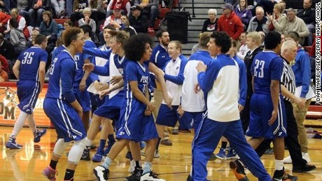 Perry High School wins against Dallas Center-Grimes High School in Dallas center Iowa.