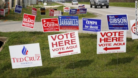 RICHMOND, TEXAS - MARCH 1, 2016:  Candidate signs are shown outside Cindy's Palace banquet hall March 1, 2016 in Richmond, Texas. Voters in 12 states go to the polls in today's Super Tuesday.  (Photo by Erich Schlegel/Getty Images)