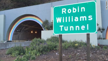 Signs recently went up for the Robin Williams tunnel, just north of the Golden Gate Bridge.
