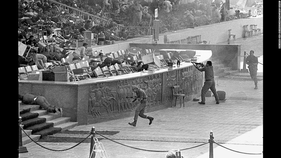"<strong>A peacemaker's assassination:</strong> In October 1981, military officers <a href=""http://www.cnn.com/2011/10/06/world/meast/egypt-sadat-assassination/"" target=""_blank"">open fire </a>on Egyptian President Anwar Al-Sadat as he watches an annual parade in honor of Egypt's 1973 war with Israel. Al-Sadat, who won a Nobel Peace Prize for a 1979 peace treaty he signed with Israel, was killed in the shooting along with several other dignitaries."