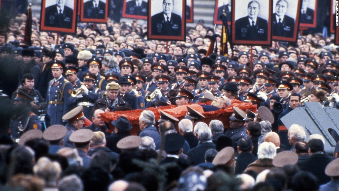 "<strong>End of a Russian era:</strong> When President Leonid Brezhnev, who led the Soviet Union for 18 years, died on November 10, 1982, it <a href=""http://www.theatlantic.com/international/archive/2012/11/the-death-of-leonid-brezhnev-and-the-long-battle-for-russias-future/264985/"" target=""_blank"">closed a chapter </a>of old-guard Communist Party leadership and made way for a new regime that wanted reform."