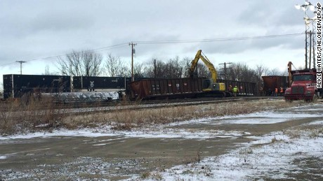 Crews work to clear the site of a Norfolk Southern freight train derailment near Ripley in western New York state on March 2.