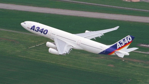 Only the Airbus A380, the A340 (pictured) and Boeing 747s have four engines. Unlike the Boeing 777, the A340 has a conical exhaust vent. Expect to see fewer A340s in the skies as the years pass given Airbus stopped producing them in 2011.