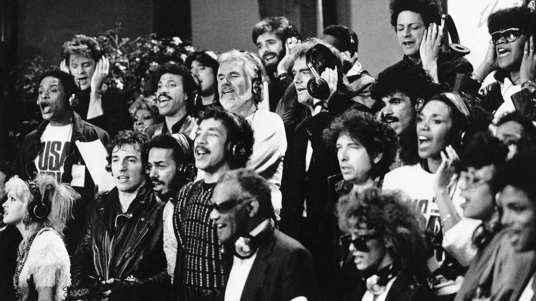 "<strong>Music makes a difference:</strong> In January 1985, 45 musicians joined forces to record a song to benefit African famine relief. The supergroup, made up of stars such as Michael Jackson, Diana Ross and Bob Dylan, recorded ""We Are the World,"" which went on to sell more than <a href=""http://www.cnn.com/2015/01/28/entertainment/feat-we-are-the-world-30-years-where-are-they-now/"" target=""_blank"">20 million copies.</a>"