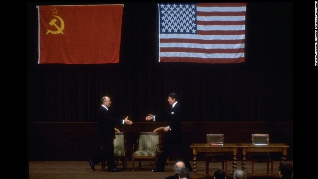 "<strong>Cold War thaw:</strong> U.S. President Ronald Reagan and Soviet Union leader Mikhail Gorbachev shake hands as they meet at the <a href=""http://nsarchive.gwu.edu/NSAEBB/NSAEBB172/http://www.history.com/this-day-in-history/reagan-and-gorbachev-hold-their-first-summit-meeting"" target=""_blank"">Geneva Summit</a> on November 19, 1985. The two-day event marked the first time in eight years that the two countries had met for a summit conference. Although no groundbreaking agreements came out of it, the fact that the two sides met amicably in the midst of Cold War tensions appeared to bode well for the future of international relations."