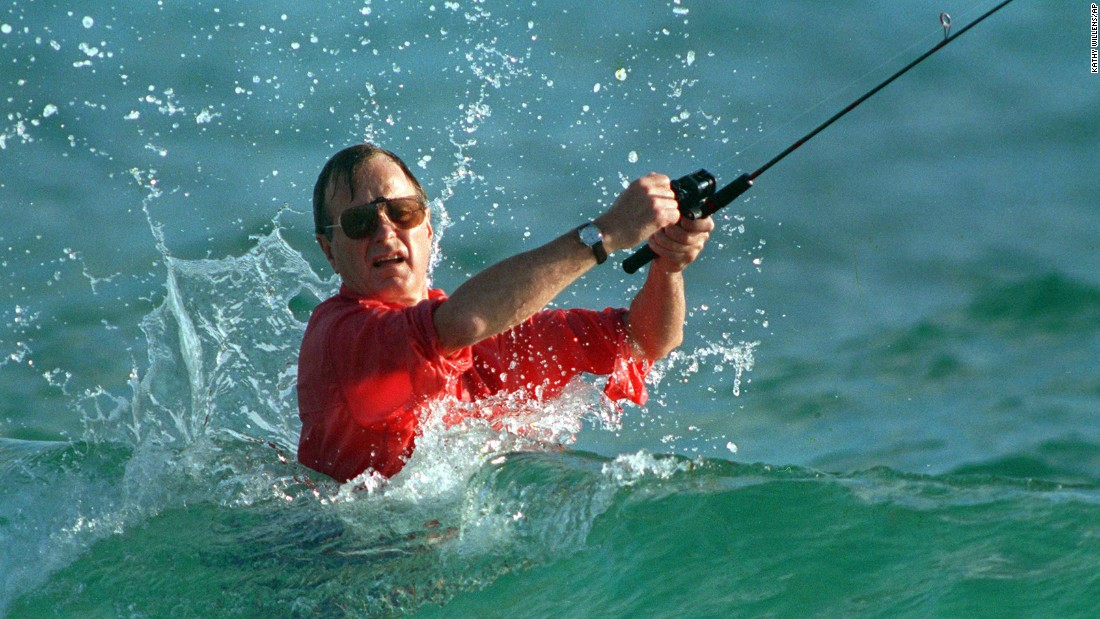 "<strong>Gulf Stream celebration:</strong> Just days after beating Dukakis in the 1988 election, U.S. President-elect George H.W. Bush takes a break to fish in Gulf Stream, Florida. Bush's <a href=""http://www.nytimes.com/1988/11/09/us/1988-elections-bush-elected-6-5-margin-with-solid-gop-base-south-democrats-hold.html?pagewanted=all"" target=""_blank"">victory was overwhelming;</a> he got 426 electoral votes, while Dukakis only got 111."