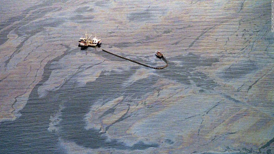 "<strong>Oil and water:</strong> On March 24, 1989, the <a href=""http://time.com/3748246/exxon-valdez-history/"" target=""_blank"">Exxon Valdez</a> oil tanker ran aground in Alaska's Prince William Sound, spilling 11 million gallons of crude oil into the surrounding Arctic waters. The oil slick spread as far as 500 miles from the crash site and affected 1,300 miles of shoreline. Prince William Sound, called ""one of the last, best places on Earth"" is <a href=""http://www.cnn.com/2014/03/23/opinion/holleman-exxon-valdez-anniversary/"" target=""_blank"">still feeling the effects</a> of what's now considered America's second-worst oil spill."