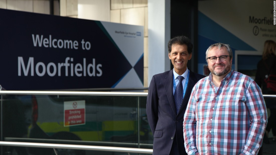 The surgery was conducted by Professor Lyndon de Cruz (left) at Moorfields Eye Hospital in London. Nine more patients will receive the treatment during this trial.