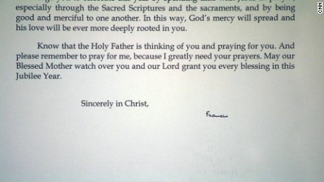 Pope Francis signed a letter to Carlos Adrian Vazquez Jr.