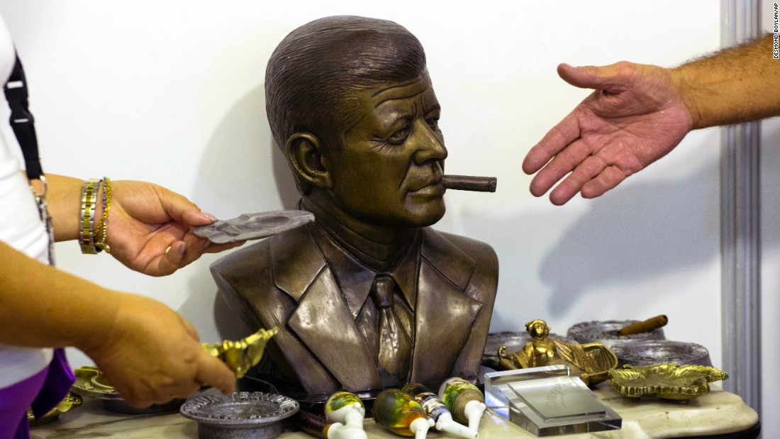 Cuban artist Ernesto Milanes made this bronze sculpture of U.S. President John F. Kennedy smoking a cigar. It was selling for $3,500 on Monday, February 29, the opening day of the Havana Cigar Festival in Havana, Cuba.