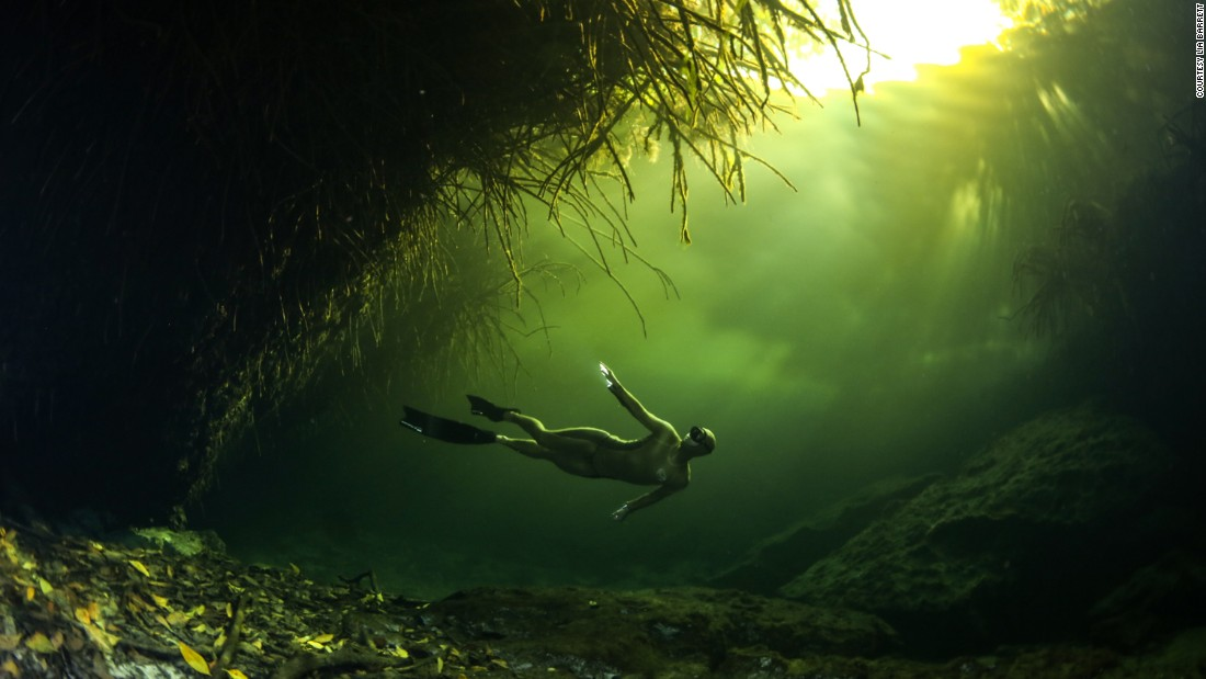 """In some cenotes there are these 'false bottoms' that are created,"" continued Barrett.<br />""So where it looks like there is an underwater island with trees, what is really happening is a cloud of stinky hydrogen sulfide which has gathered, creating an illusion of a misty lake."""