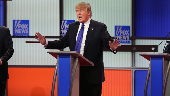 Republican presidential candidates Sen. Marco Rubio, Donald Trump and Sen. Ted Cruz participate in a debate sponsored by Fox News at the Fox Theatre on March 3, 2016, in Detroit, Michigan.