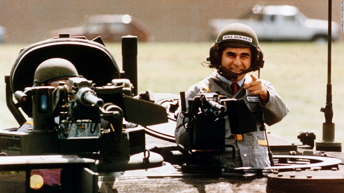 "<strong>Dukakis tank gaffe:</strong> Democratic presidential hopeful Michael Dukakis appears in an armored tank during a 1988 campaign visit to a military equipment manufacturer. ""When the Republicans saw one of the images of the diminutive Dukakis popping out of an M1 Abrams Main Battle Tank with a helmet on, they almost popped the corks on the champagne,"" <a href=""http://www.cnn.com/2016/03/17/opinions/zelizer-lee-atwater-trump/"" target=""_blank"">wrote CNN contributor Julian Zelizer.</a> The Bush campaign featured video of the event in a negative TV ad questioning Dukakis' commitment to defense."