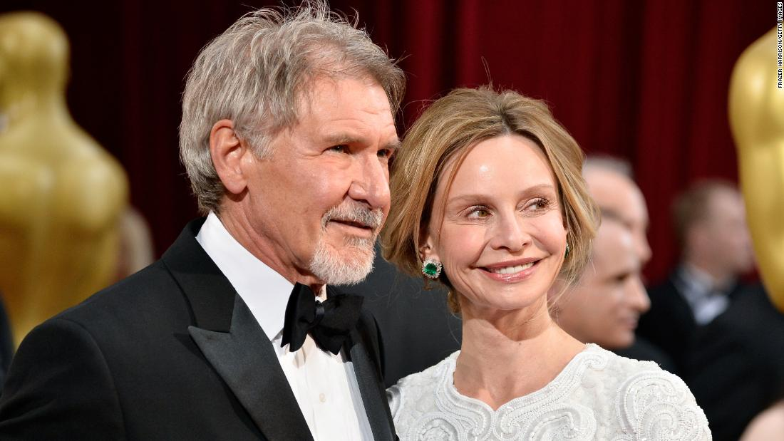 Husband and wife actors Harrison Ford, 74, and Calista Flockhart, 52.