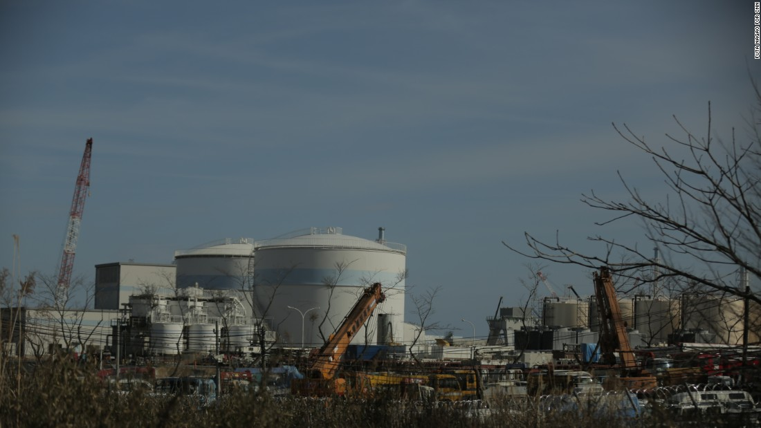 The Fukushima Daiichi nuclear plant seen from Futaba town, now abandoned due to the meltdown.