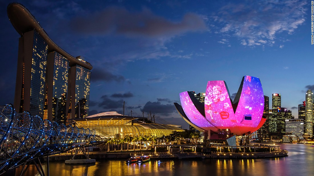 The Singapore skyline is taken over by light installations as part of the city's annual iLight Marina Bay festival.
