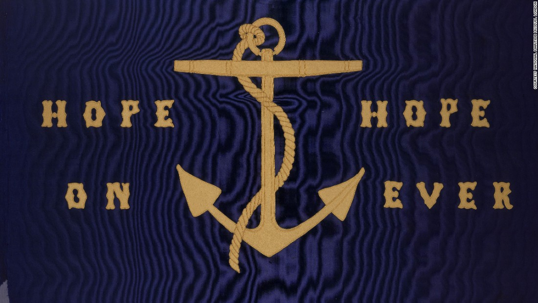 "The motto ""hope on hope ever"" -- by British writer of maritime history John Barrow -- is embroidered onto this silk flag dating back to the 1850s."