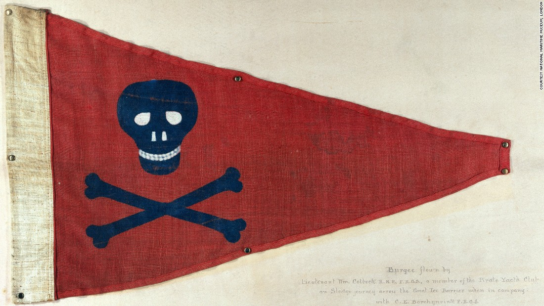 "This skull-and-crossbones flag probably appears more fearsome than the reality. Dating back to 1898, it was the official flag of a British recreational sailing group, the Pirate Yacht Club Bridlington.<br />Davey says you wouldn't want to come face-to-face with a real pirate on the high seas in the 17th and 18th century.<br />""Pirates sometimes used black flags illustrated with skulls and skeletons as symbols of mortality, and it seems likely that they adopted this as part of their attempt to strike fear into other ships,"" he explains.<br />""It has been suggested that by flying a black flag, the pirates were making a clear message to any opponent: It was a sign that if the ship put up a fight, the pirates would not take any prisoners -- even if the ship in question surrendered. <br />""It was threats such as these, communicated through a simple flag, that made pirates such a fearful prospect.""<br />"