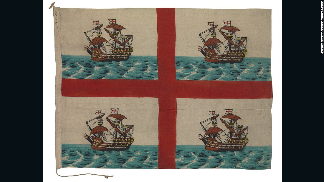 This whimsical 1910 flag belongs to Trinity House, the charity responsible for safeguarding Britain's seafaring community and managing its lighthouses.