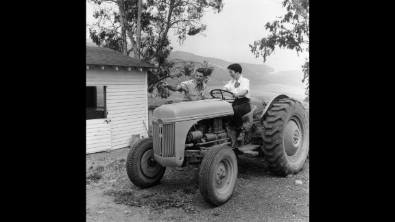 The Reagans prepare for a day's work on their ranch in Malibu.