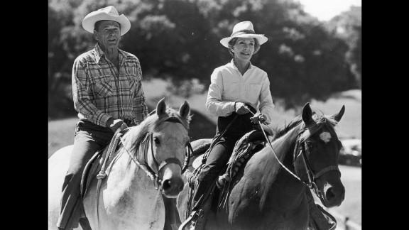 The Reagans ride horses on January 10, 1981.