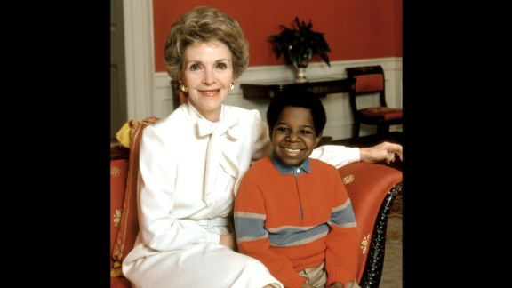 "Reagan poses with Gary Coleman in a 1983 publicity photo for an episode of ""Diff'rent Strokes."""