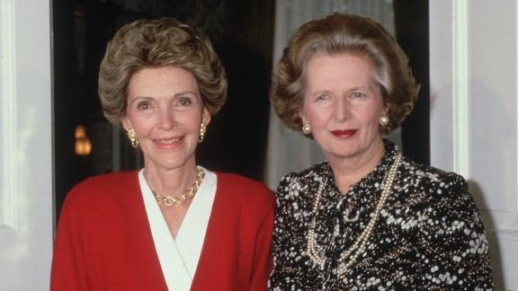 Reagan meets with British Prime Minister Margaret Thatcher at No. 10 Downing Street on July 22,1986, during a visit to London.
