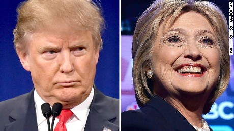 In this combination of file photos shows, Republican presidential hopeful Donald Trump on January 14, 2016 and his Democratic rival Hillary Clinton on February 4, 2016.  Donald Trump and Hillary Clinton took a big leap toward clinching their parties' nomination for the US presidential election, soundly defeating rivals in a slew of Super Tuesday primaries on March 1, 2016. / AFP / DSKDSK/AFP/Getty Images