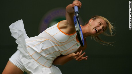 LONDON - JUNE 27:  Maria Sharapova of Russia serves against Nathalie Dechy of France during the seventh day of the Wimbledon Lawn Tennis Championship on June 27, 2005 at the All England Lawn Tennis and Croquet Club in London.  (Photo by Mike Hewitt/Getty Images)