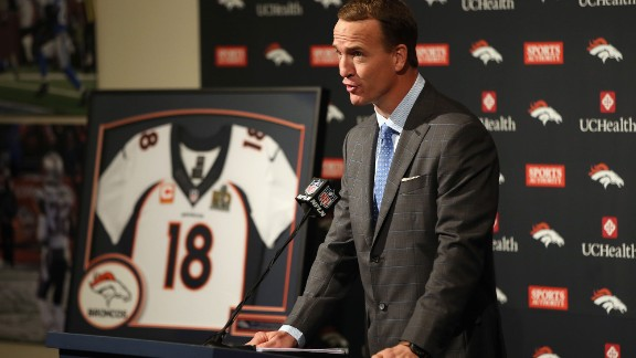 Manning addresses the media as he announces his retirement from the NFL on Monday, March 7, in Englewood, Colorado.