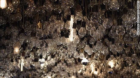 Caption:NEW YORK, NY - FEBRUARY 09: (EXCLUSIVE ACCESS, SPECIAL RATES APPLY) Lightbulbs hang from the ceiling inside the Drawing Room during The Daily Front Row's celebration of the 10th Anniversary of CBS Watch! Magazine at the Gramercy Terrace at The Gramercy Park Hotel on February 9, 2016 in New York City. (Photo by Nicholas Hunt/Getty Images)