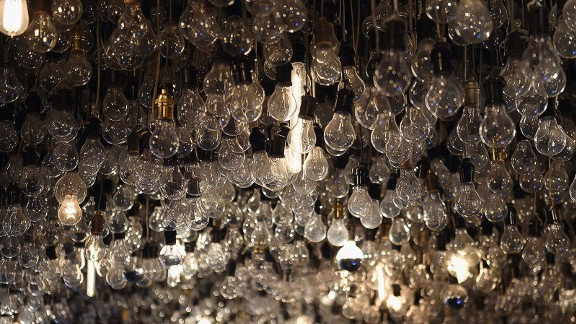 Caption:NEW YORK, NY - FEBRUARY 09: (EXCLUSIVE ACCESS, SPECIAL RATES APPLY) Lightbulbs hang from the ceiling inside the Drawing Room during The Daily Front Row