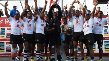 Members of the Fiji team celebrate their 21-15 over Australia in the final of the Las Vegas leg of the 2015-16 World Sevens Series