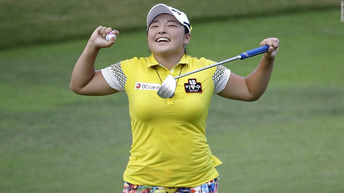 "Ha Na Jang celebrates Sunday, March 6, after she won the HSBC Women's Champions, an LPGA tournament in Singapore. She even broke out a <a href=""http://www.golfdigest.com/story/watch-ha-na-jang-celebrate-her-latest-win-by-doing-the-beyonce-super-bowl-dance"" target=""_blank"">Beyonce dance</a> on the last hole."