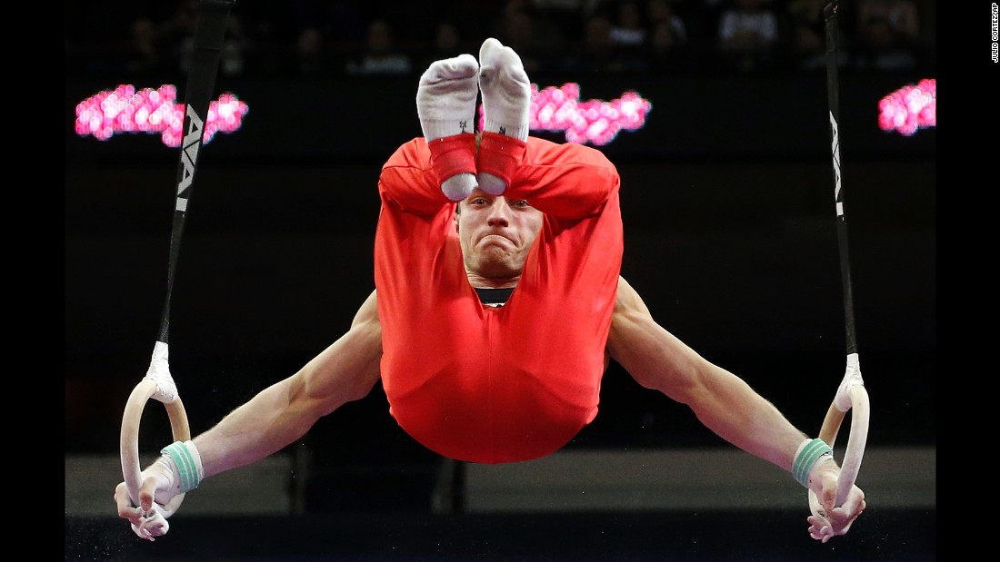German gymnast Andreas Bretschneider competes on the rings Saturday, March 5, during the American Cup competition in Newark, New Jersey.