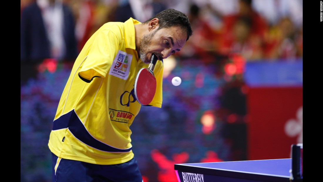 Ibrahim Hamato, a Paralympic table tennis champion from Egypt, returns a shot during an exhibition match in Kuala Lumpur, Malaysia, on Sunday, March 6.