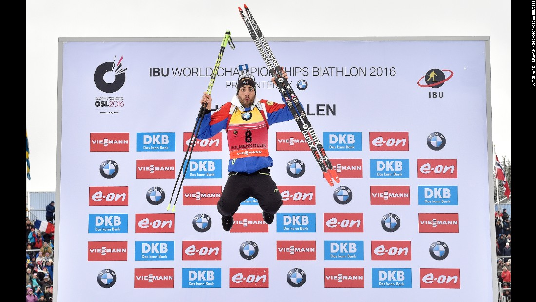 French biathlete Martin Fourcade celebrates after winning the sprint race at the Biathlon World Championships on Saturday, March 5. Fourcade has won nine world titles and two Olympic golds in his prestigious career.