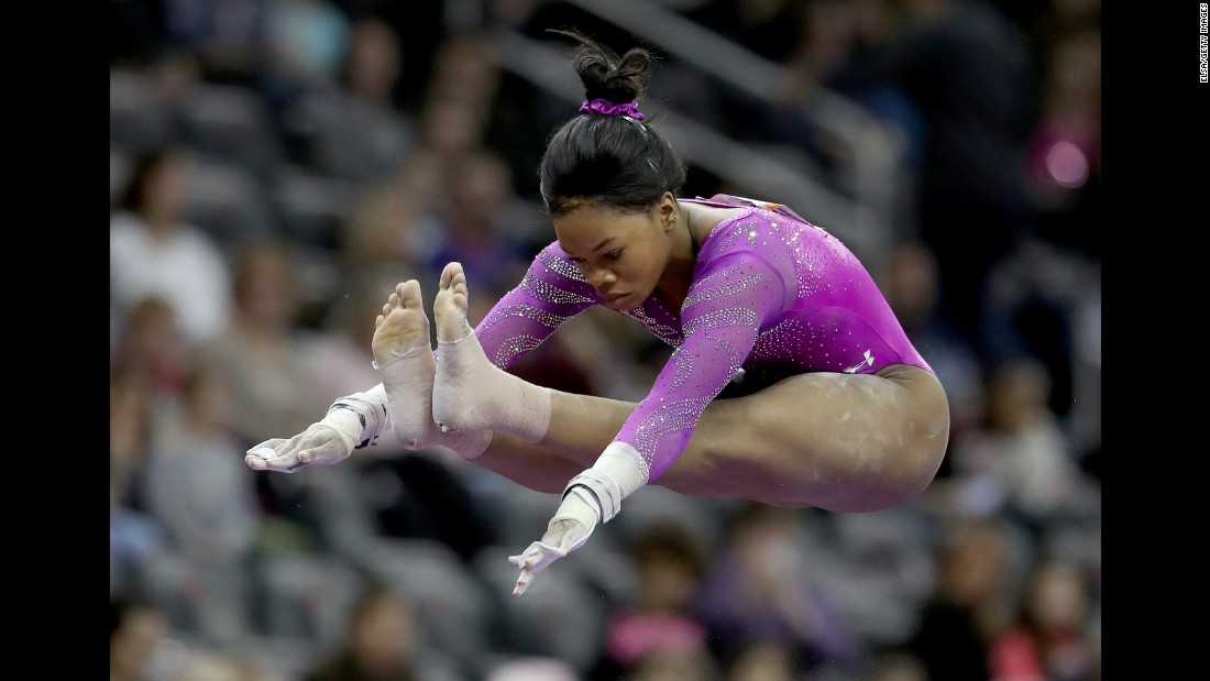 American gymnast Gabby Douglas, the 2012 Olympic champion, competes on the uneven bars during the American Cup on Saturday, March 5. She finished first in the all-around competition.