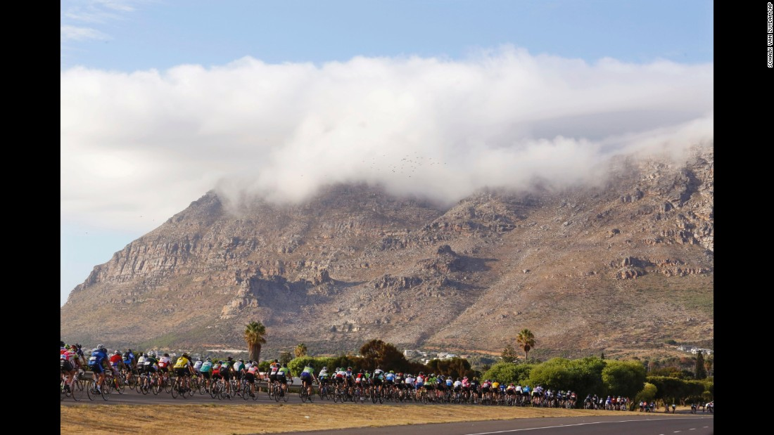 Cyclists participate in the Cape Town Cycle Tour in Cape Town, South Africa, on Sunday, March 6.