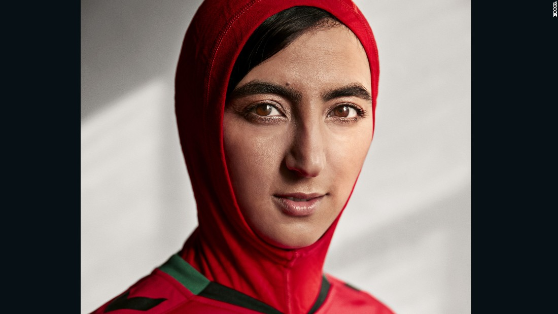 The jersey was modeled by Khalida Popal, a former captain of the Afghan women's team who was forced to retire due to a knee injury.