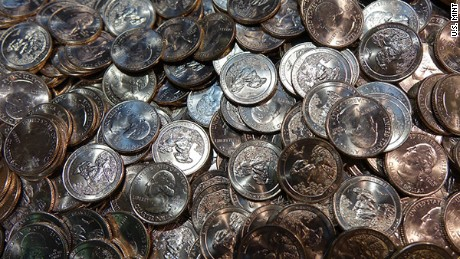 A Harpersville, Alabama, man made off with $196,000 in quarters like the ones pictured here, authorities say.